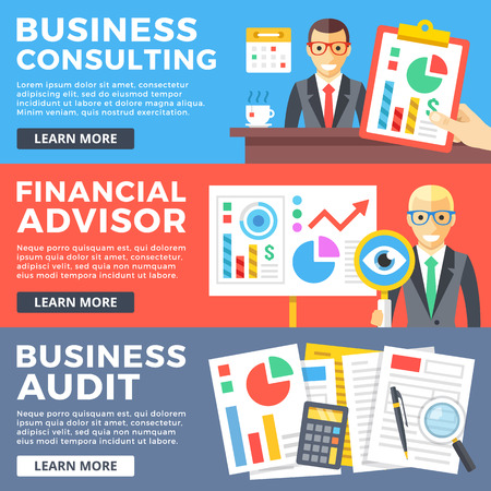 consult: Business consulting, financial advisor, business audit flat illustration concepts set. Flat design graphic for web sites, web banners, printed materials, infographics. Modern vector illustrations