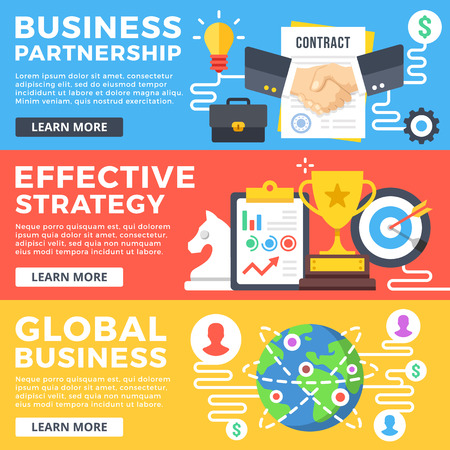 website banner: Business partnership, effective strategy, global business flat illustration concepts set. Flat design graphic for web banners, web sites, printed materials, infographics. Modern vector illustrations