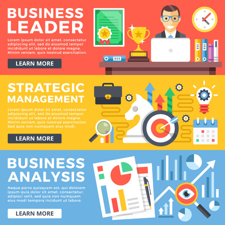 web sites: Business leader, strategic management, business analysis flat illustration concepts set. Flat design graphic for web sites, web banners, printed materials, infographics. Modern vector illustrations