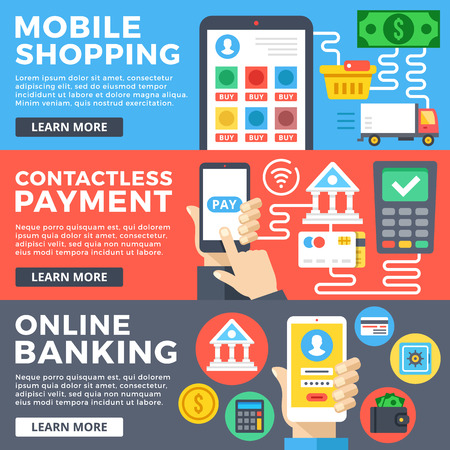 web sites: Mobile shopping, contactless payment, online banking flat illustration concepts set. Flat design graphic for web sites, web banners, templates, printed materials, infographics. Vector illustrations