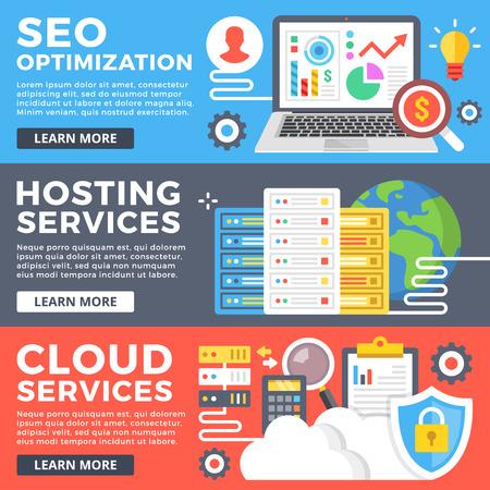 Optymalizacja SEO, hosting, usługi w chmurze, technologii internetowych płaskim koncepcji ilustracji zestaw. Płaski projektowanie graficzne na banner internetowej, strony internetowej, materiałów drukowanych, infografiki. ilustracji wektorowych