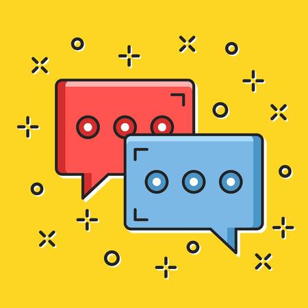 instant messaging: Chat icon. Trendy flat thin line design vector illustration Illustration