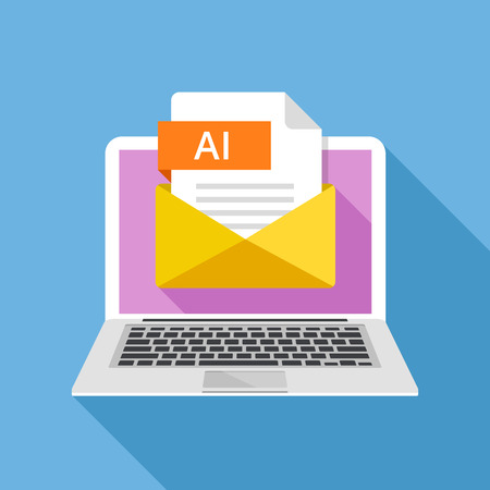 ai: Laptop with envelope and AI file. Notebook and email with file attachment AI document. Trendy graphic elements. Modern long shadow flat design. Vector illustration