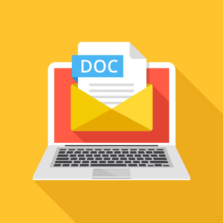 docs: Laptop with envelope and DOC file extension. Notebook, email, file attachment DOC document. Trendy graphic elements. Modern long shadow flat design. Vector illustration