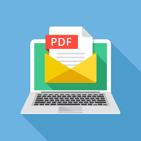 pdf: Laptop with envelope and PDF file. Notebook and email with file attachment PDF document. Creative graphic elements and concepts. Modern long shadow flat design. Vector illustration