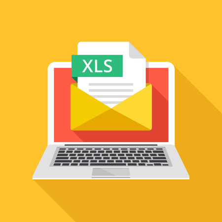 Laptop with envelope and XLS file. Notebook, email with file attachment XLS document. Trendy graphic elements and creative concepts. Modern long shadow flat design. Vector illustration