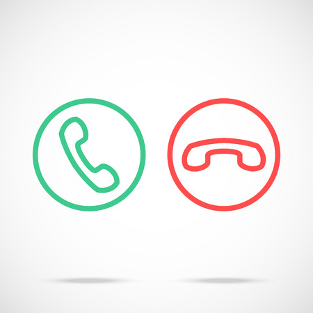 hang up: Phone call icons set. Trendy thin line design concept. Modern vector icons
