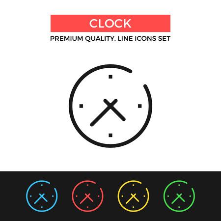 Icono del reloj del vector. Icono de línea delgada Ilustración de vector