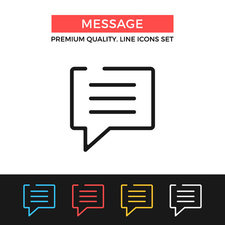 instant messaging: Vector message icon. Thin line icon Illustration