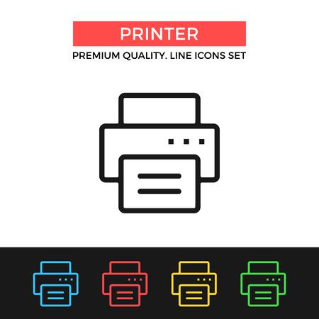 Vector printer icon. Thin line icon
