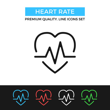 bpm: Vector heart rate icon. Thin line icon