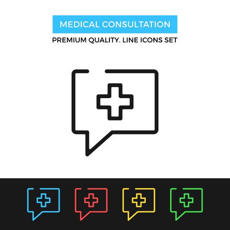 consulta médica: Vector icono de la consulta médica. icono de línea delgada