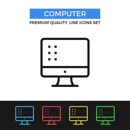 compute: Vector computer icon. Thin line icon Illustration