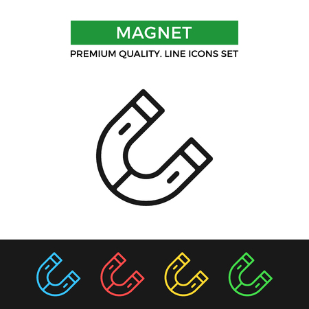 electromagnetic: Vector magnet icon. Thin line icon