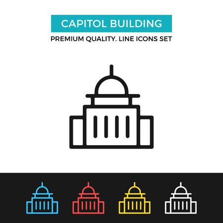 Vector Capitol building icon. Thin line icon Illustration