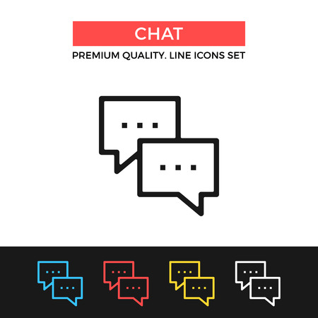 instant messaging: Vector chat icon. Thin line icon
