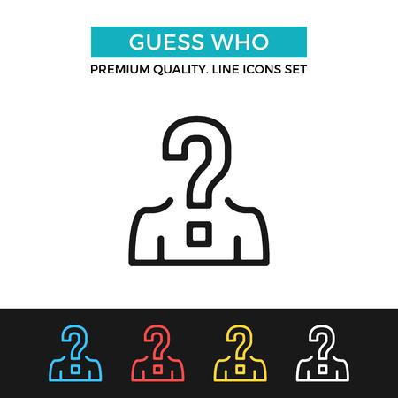 Vector de adivinar quién icono. icono de línea delgada