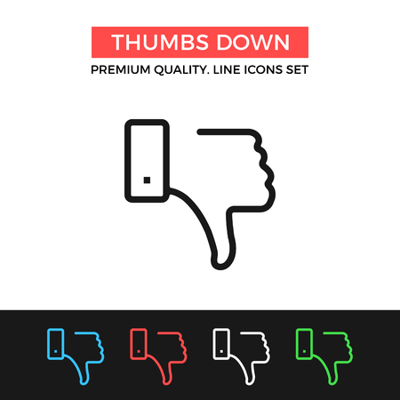 thumbs down: Vector thumbs down icon. Thin line icon