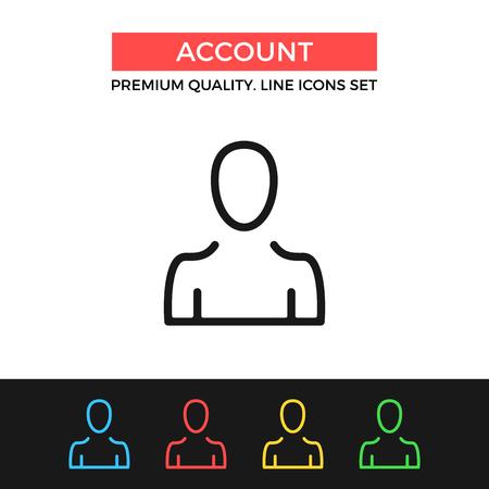 personal profile: Vector account icon. Thin line icon Illustration