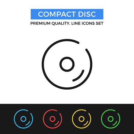 compact: Vector compact disc icon. Thin line icon