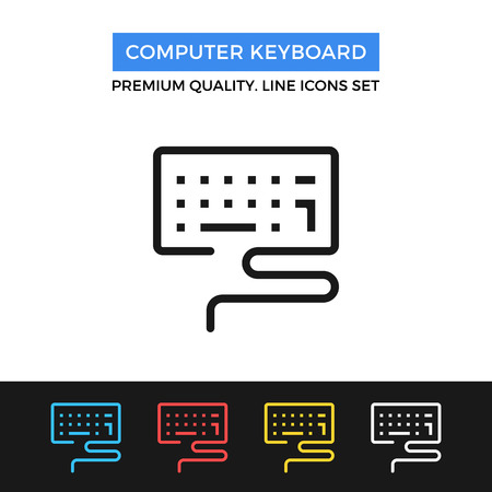 alfa: Vector computer keyboard icon. Thin line icon