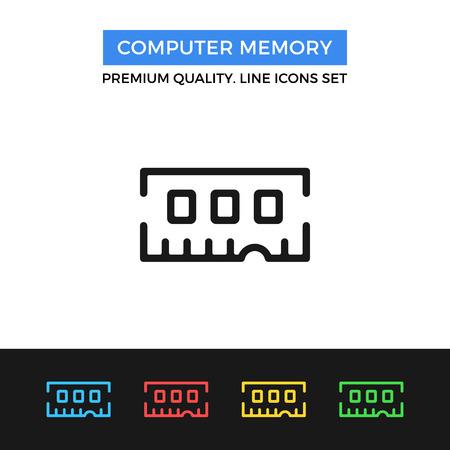 random access memory: Vector computer memory icon. Thin line icon Illustration