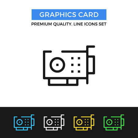 capacitor: Vector graphics card icon. Thin line icon