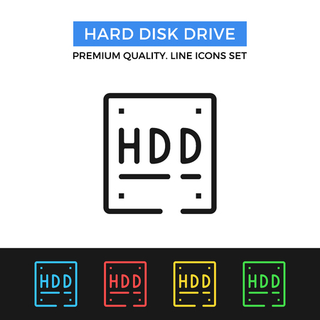portable hard disk: Vector hard disk drive icon. Thin line icon Illustration