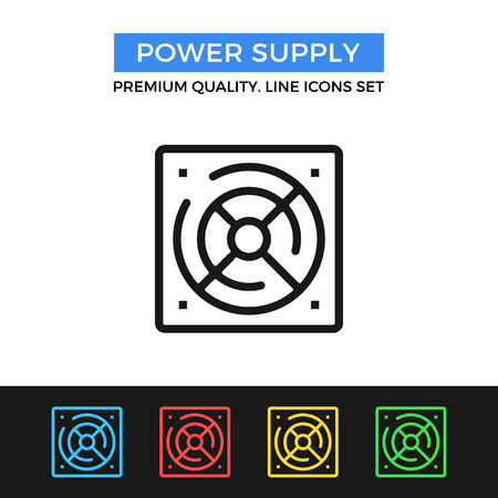 power supply unit: Vector power supply icon. Thin line icon