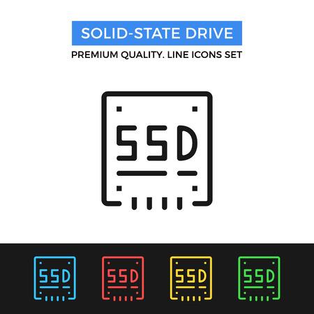 sata: Vector solid state drive icon. Thin line icon
