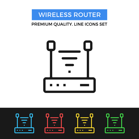 hub computer: Vector wireless router icon. Thin line icon