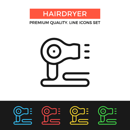 blow drying: Vector hairdryer icon. Thin line icon