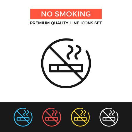pernicious: Vector no smoking icon. Thin line icon
