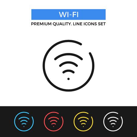 hotspot: Vector wireless icon. Thin line icon Illustration