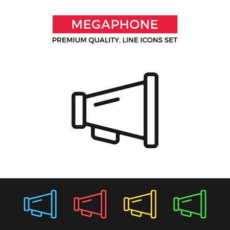 mega phone: Vector megaphone icon. Thin line icon Illustration