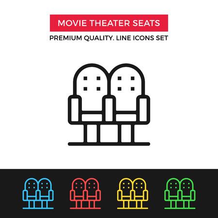 theater seats: Vector movie theater seats icon. Thin line icon
