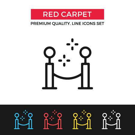 fashion week: Vector red carpet icon. Thin line icon Illustration