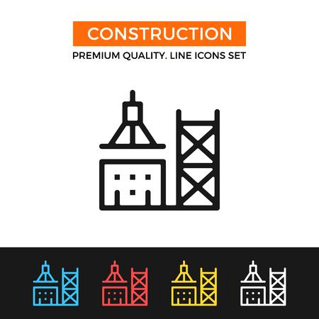 Ikona budowy wektorowe. Ikona linii cienkiej Ilustracje wektorowe