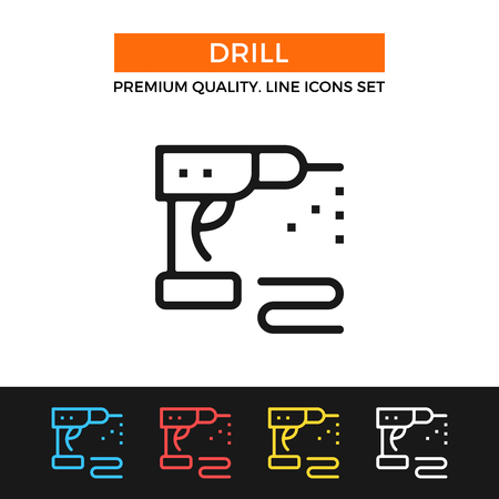 corded: Vector drill icon. Thin line icon