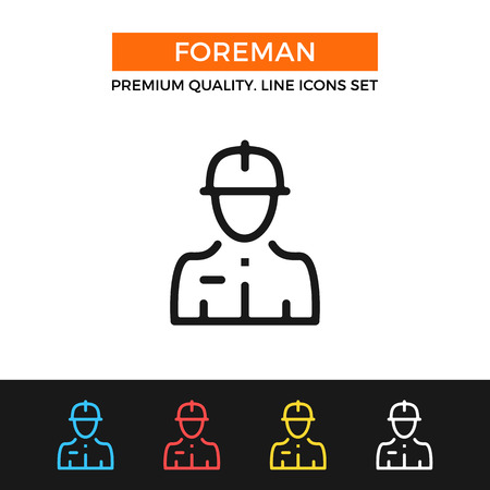 general manager: Vector construction foreman icon. Thin line icon