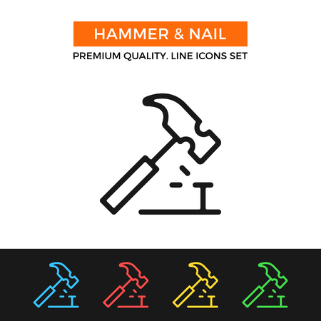 claw hammer: Vector hammer and nail icon. Thin line icon