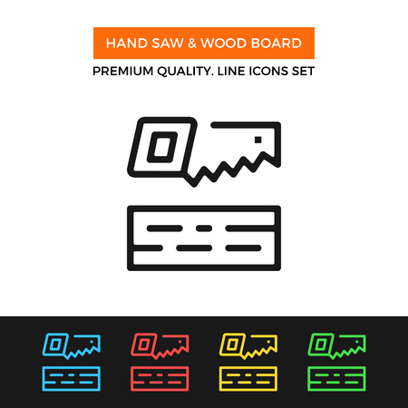 Vector hand saw & wood board icon. Thin line icon