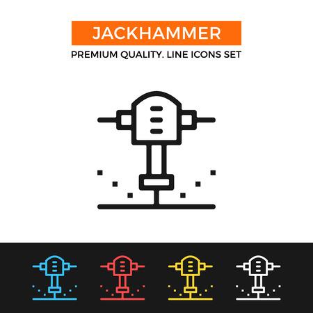 presslufthammer: Vector Bohrhammer-Symbol. Thin line icon