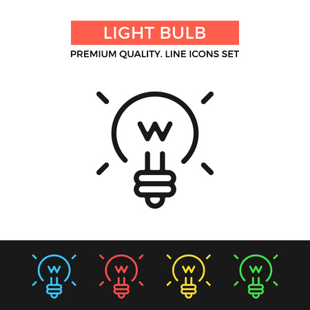 thin bulb: Vector light bulb icon. Thin line icon Illustration