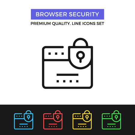 https: Vector browser security icon. Thin line icon