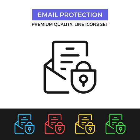 protection icon: Vector email protection icon. Thin line icon