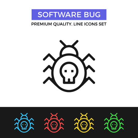 Vector software bug icon. Thin line icon