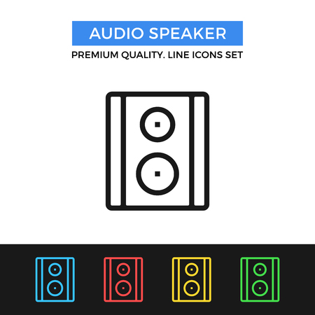 subwoofer: Vector audio speaker icon. Thin line icon