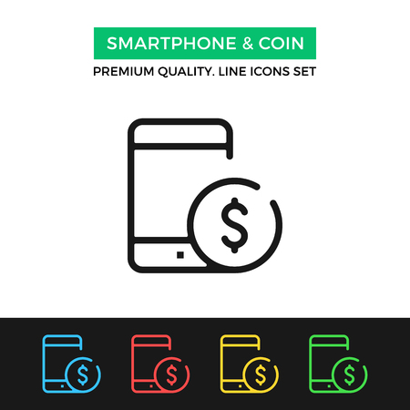 remittance: Vector smartphone and coin icon. Thin line icon