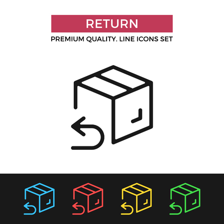 refund: Vector return shipping icon. Thin line icon